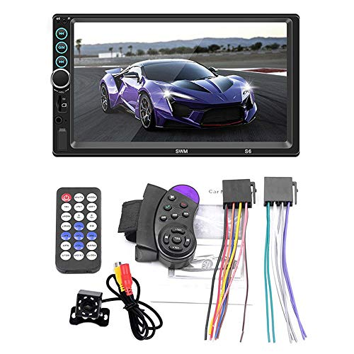 - MOGOI Car MP5, Wireless BT Double Din Car Audio Video Built-in 7 Inch HD Resistive Screen Dual USB with Rear View Camera, Touch Screen Car Stereo with Remote Control