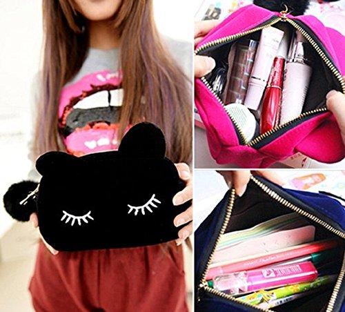 ABCmall Velvet Cat Design Cosmetic Makeup Storage Bag Pen Pencil Pouch Case (Blue)