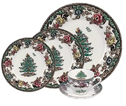 Amazon.com | Spode Christmas Tree Grove Four 5 Pc Place Settings ...
