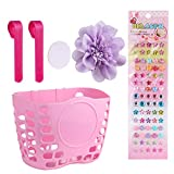 MINI-FACTORY Kid's Bike Basket, Cute Flower + Bling DIY Crystal Stickers Bicycle Front Handlebar Basket for Kid Girls