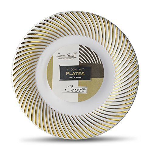 Laura Stein Designer Tableware Premium Heavyweight 7'' Inch White And Gold Rim Plastic Party & Wedding Plates Curve Series Disposable Dishes Pack of 40 Party Plates