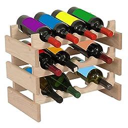 12-Bottles Wine Rack in Light Oak Finish