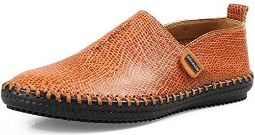 Ppxid Menns Britisk Stil Håndarbeid Slip-on Loafers Tilfeldige Skinnsko Lys Brun