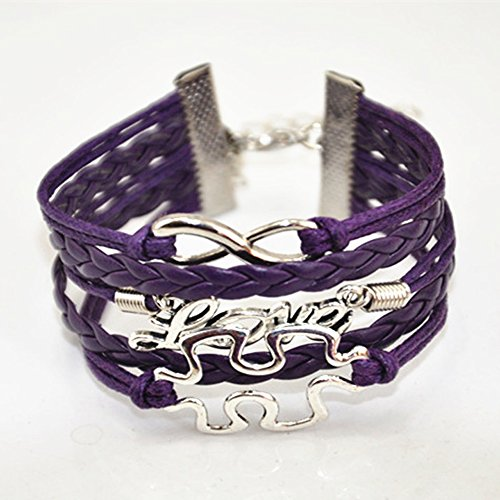 Female Jigsaw Costume (ACUNION™ Handmade Puzzle Piece JigSaw Puzzle Infinity Leather Bracelet for Women Girl - All Purple)