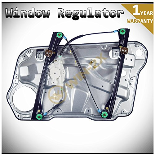(WIN-2X New 1pc Front Driver (Left) Side Power Window Regulator+Door Panel Without Motor Fit 99-06 Volkswagen Golf 99-05 Jetta MK4 4-Door)