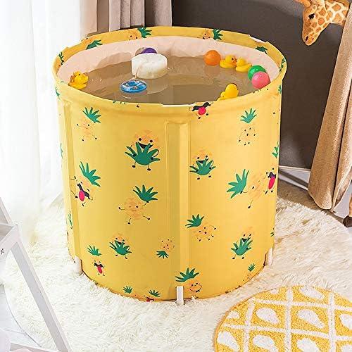 浴槽 バスバレルベビースイミングバケツ家庭用折りたたみ肥厚断熱子供バースバレルパイナップル柄65x65cm 大人用家庭用 (Color : Yellow, Size : 65x65cm)
