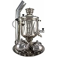 "Samovar on coal, charcoal, firewood 5 liters ""Sheet"" in the set ""Gift"""