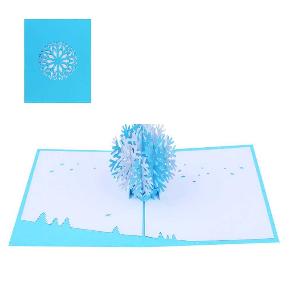 Kofun 3D Pop Up Biglietto di Auguri con Busta di Carta Artigianato Natale Compleanno Capodanno invito Piccolo Fiocco di Neve di Natale 20x15 cm/7.87x5.91 in #REF!