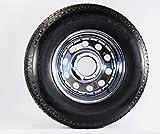 Radial Trailer Tire + Rim ST225/75R15 225/75-15 15 6 Lug Wheel Chrome Mod/Rivets