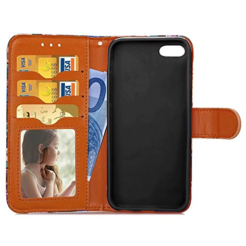 Apple IPhone 6S Plus Fall abstrakte Blumenmuster TPU PU-Lederbezug Fall Retro Folio Flip Wallet Stand Case mit Kartensteckplatz Fotorahmen für Apple IPhone 6S Plus ( Color : 3 )