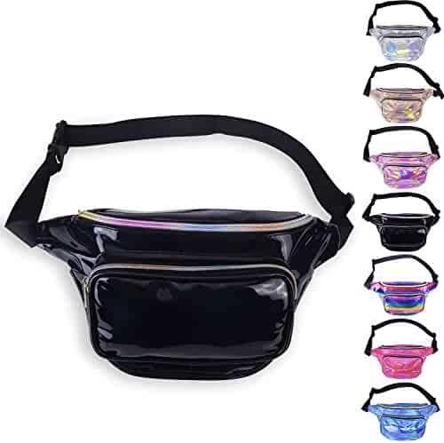 LEADO Holographic Fanny Pack Waterproof Fanny Packs for Women and Men, 80s Waist Pack Fashion Bum Bag for Festival, Rave, Party, Trip