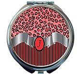 Rikki Knight Letter''J'' Red Leopard Print Stripes Monogram Design Round Compact Mirror