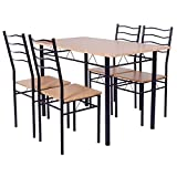 Giantex Modern 5 Piece Dining Table Set for 4 Chairs Wood Metal Kitchen Breakfast Furniture (Beech wood)