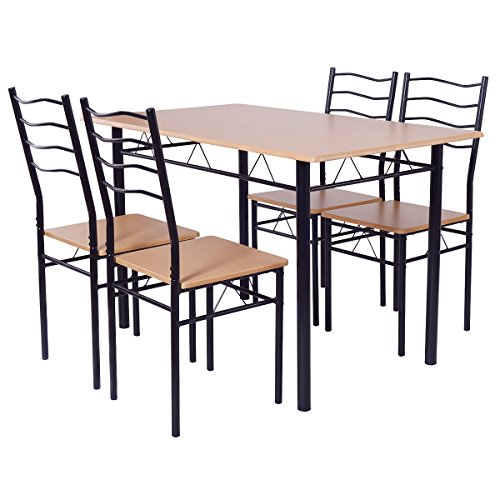 Giantex Modern 5 Piece Dining Table Set for 4 Chairs Wood Metal Kitchen Breakfast Furniture (Beech wood) (Dining Breakfast Chairs And Table)