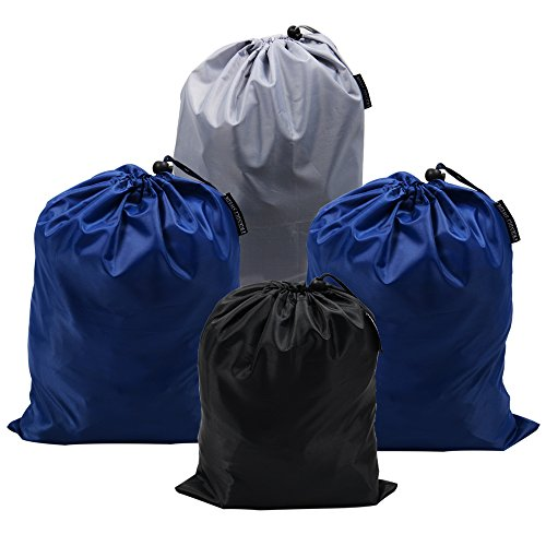 The Friendly Swede Organizing Storage and Packing Drawstring Travel Ditty Bags (Set of 4 - LARGER)