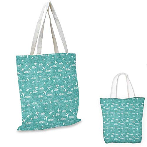 Airplane canvas messenger bag Disoriented Flying Jets in Clear Sky with Curly Clouds Travel Vacation Theme canvas beach bag Turquoise White. 16