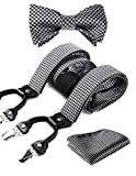 HISDERN Paisley Floral 6 Clips Suspenders & Bow Tie and Pocket Square Set Y Shape Adjustable Braces