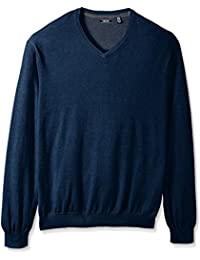 Men's Big and Tall Fine Gauge Solid V-Neck Sweater
