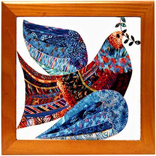 Wood Framed Ceramic Tile Trivet,Peace Dove w/Olive Branch,Kitchen Cottage Decor,Housewarming Gift