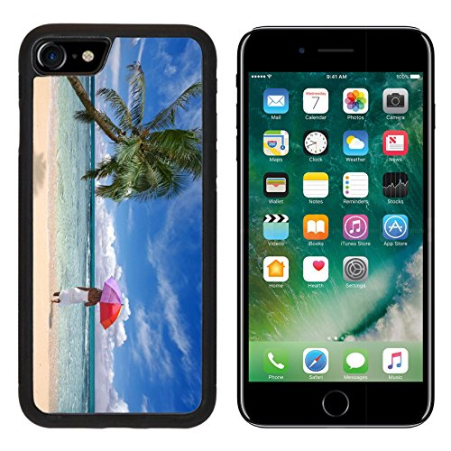 Apple 505 (MSD Premium Apple iPhone 7 Aluminum Backplate Bumper Snap Case iPhone7 IMAGE ID: 5485089 Exotic Tropical Location With Palm Tree and Woman Holding Umbrella Walking into the Ocean)