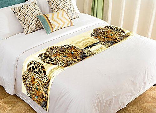 Custom Special Effect Leopard With Authentical Blue Eyes Wild Animal Print Super Bed Decoration Bed Runner Bedding Scarf 20x95 Inch by C-Bedcloth