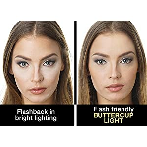 BUTTERCUP LIGHT, flash-friendly face powder for light skin tones. No ashy flashback in bright lighting, selfies & photos. 1.25 oz.