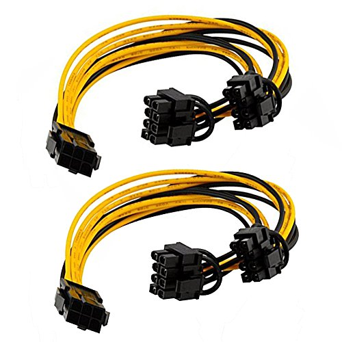 [2-Pack]6 Pin to Dual PCIe 8 Pin (6+2) Cable Adapter for Miner, PCIe Splitter 6 Pin to 8 Pin Cable, GPU PCIe Power Supply Adapter Mining, Graphics Card PCI Express VGA Splitter Extension Cable