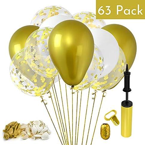 - 51ct 2BZtPhoL - 60pcs Gold 12 Inch Metallic Confetti Balloons