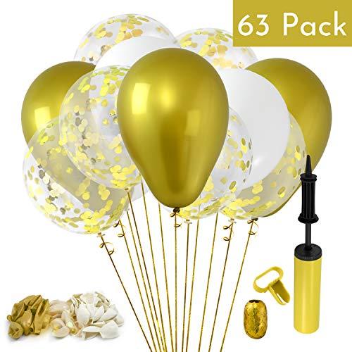 60pcs Gold 12 Inch Metallic Confetti Balloons