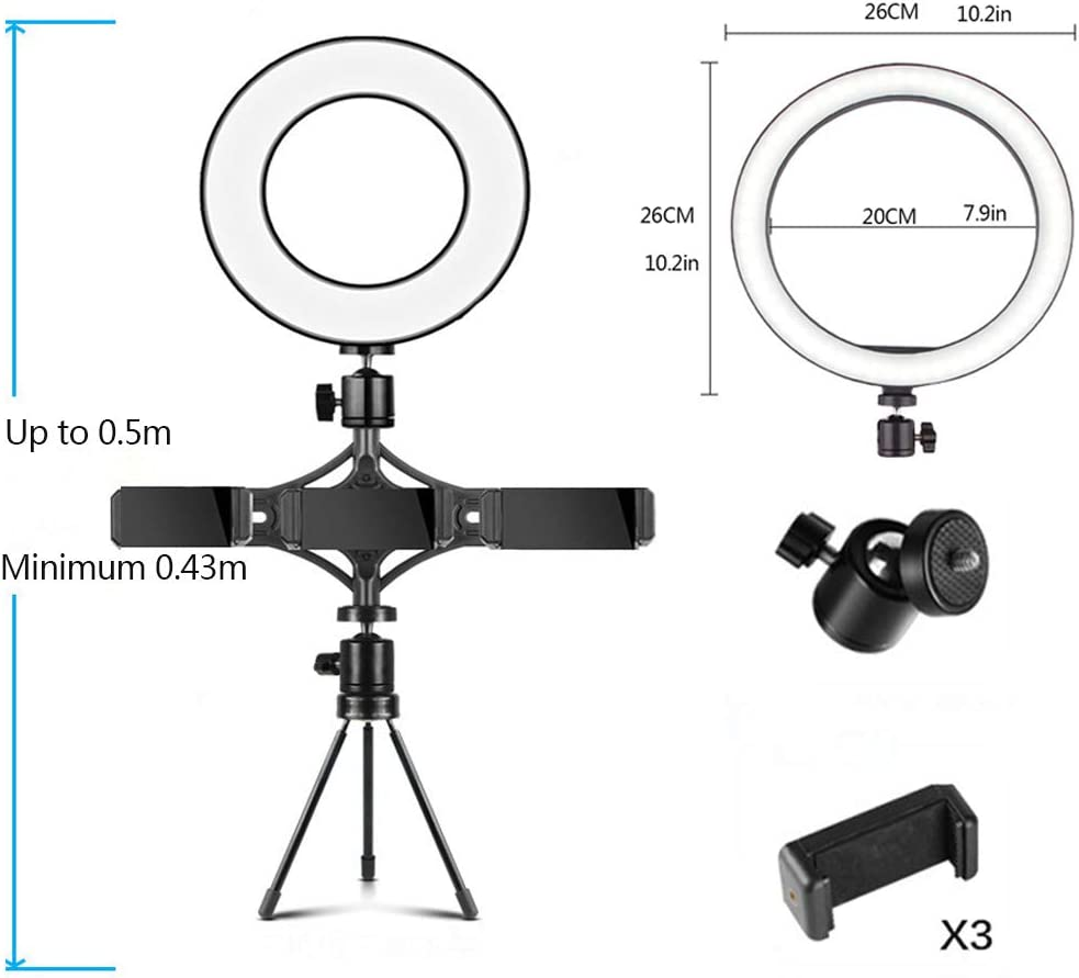 DelongKe 10.2 Inch Led Ring Light Kit Dimmable Lighting with 50CM Light Stand Work Smartphone and Camera for Video Shooting YouTube,threepositions10.2in