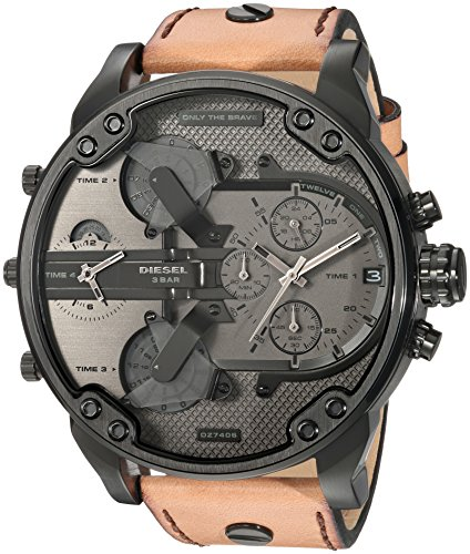 Watch Chronograph Diesel (Diesel Men's Mr Daddy 2.0 Quartz Stainless Steel and Leather Chronograph Watch, Color: Black, Brown (Model: DZ7406))