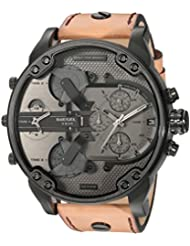 Diesel Mens Mr. Daddy 2.0 Black IP and Brown Leather Chronograph Watch DZ7406