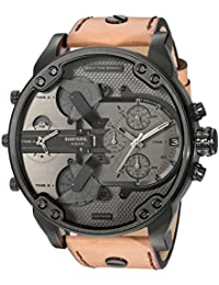 Men's Mr. Daddy 2.0 Black IP and Brown Leather Chronograph Watch DZ7406