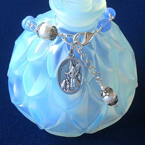 Guardian Angel Bracelet, Archangel Michael, Cornflower Blue Opal Czech Glass Beads, Swarovski Crystal Based Pearls