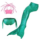 JerryCostume Kids 3pcs Swimmable Mermaid Tail For Girls Princess Bikini Set Swimsuit Swimwear