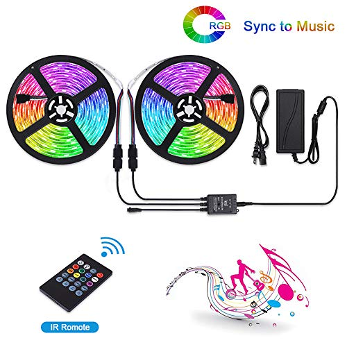 LUNSY LED Strip Lights Music Sync, Waterproof, 32.8 ft/10m RGB Dimmable Light Strip with Remote, Dream Color Rope Lights, Sound Activated, 300 LED 5050