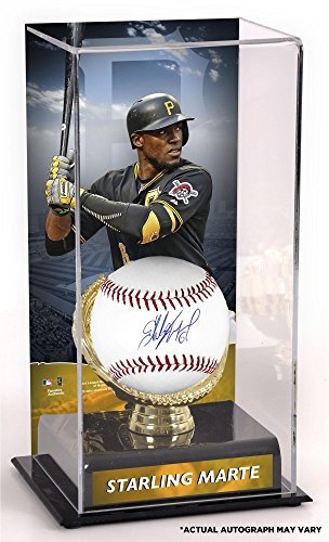 (Starling Marte Pittsburgh Pirates Autographed Baseball and Gold Glove Display Case with Image - Fanatics Authentic)