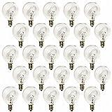 Deneve G40 Clear Glass Globe Bulbs with Candelabra Screw Base, Pack of 25