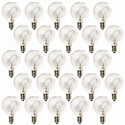 G40 String Lights With 25 Clear Globe Bulbs By Deneve : Deneve G40 Clear Glass Globe Bulbs with Candelabra Screw Base, Pack of 25 in the UAE. See ...