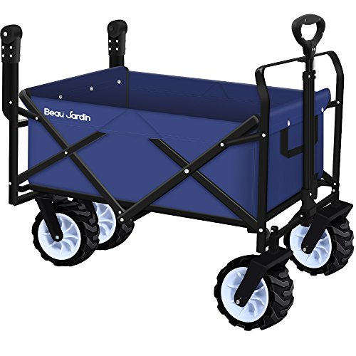 Powder Wagon - Folding Push Wagon Cart Collapsible Utility Camping Grocery Canvas Fabric Sturdy Portable Rolling Lightweight Beach Sand Buggies Outdoor Garden Sport Picnic Heavy Duty Shopping Cart Wagons With Wheels