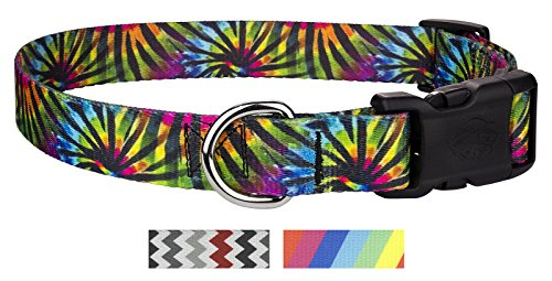Country Brook Petz | Tie Dye | Deluxe Polyester Dog Collar (Large, 1 Inch (Wide Disco)