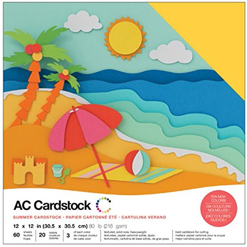 American Crafts Variety Pack Summer 60 Sheets of 12 x 12 Inch Cardstock from American Crafts