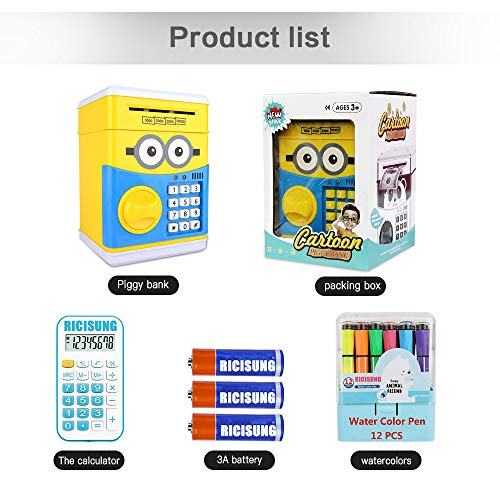 RICISUNG Trustworthy Cartoon Electronic Piggy Bank,ATM Password Piggy Bank Cash Coin Can Auto Scroll Paper Money for Children Gift Toy (Yellow) by RICISUNG (Image #6)