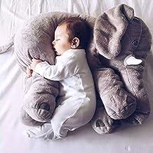 YunNasi 20 Inches Baby Cushion Long Nose Plush Elephant Toy Pillows Stuff Animal Plush (Grey)
