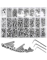 Socket Round Screw, Hex Socket Head Screw, M2 M3 M4 304 Stainless Steel Bolts and Nuts Machine Screw and Washer kit, Total 1080pcs