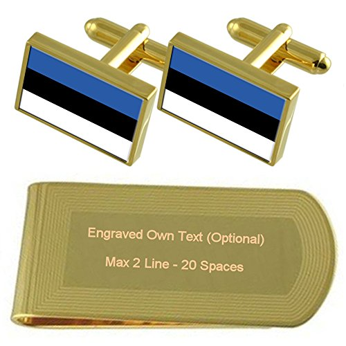Set Gift Cufflinks Money Clip Engraved tone Gold Flag Estonia 8PaqR1R