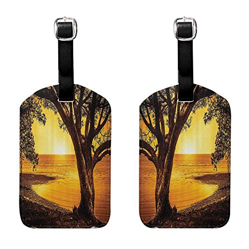 Business Card Holder Farm House Decor Collection,Single Tree on the Shore of A Lake at Sunset Romantic Scenic Panoramic Photo Print,Yellow Brown for men and women