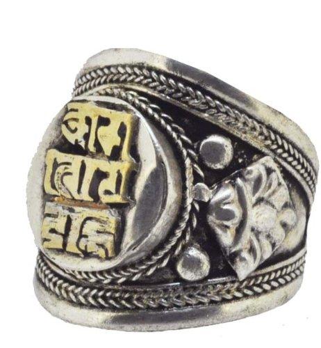 Tibetan White Metal Om Mani Padme Hum Ring
