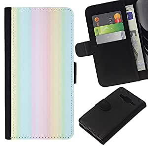 KLONGSHOP // Tirón de la caja Cartera de cuero con ranuras para tarjetas - polvo de luces de verano verano púrpura - Samsung Galaxy Core Prime //