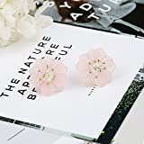 Ling Studs Earrings Hypoallergenic Cartilage Ear Piercing Simple Fashion Earrings Ear Jewelry S925 Sterling Silver Needle Flower Earrings Three-Dimensional Petals Summer, Pink